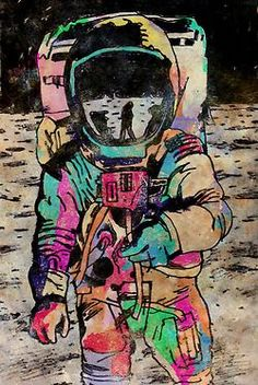 Spaceman Art Print by mreart Gravure Illustration, Illustration Art, Art Tumblr, Psy Art, Art Design, Vaporwave, Retro, Oeuvre D'art, Vincent Van Gogh