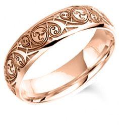 Rose Gold Book of Kells Wedding Ring - 6mm