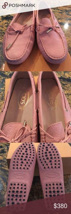 Tod's Gommini Moccasin. Fits 8.5 Light pink never worn new with box and dust bag. Nordstrom exclusive color. Slip on style. Suede and leather upper/leather lining synthetic and leather sole. Polished metal end caps stamped with a signature T add modern embellishment to the classic bow tie that tops a classic driving moccasin nubby rubber sole. Runs small. Order half size up. Fits 8.5 Tod's Shoes Moccasins