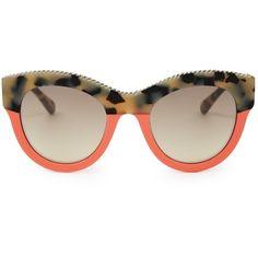Stella McCartney Falabella cat-eye sunglasses ($310) ❤ liked on Polyvore featuring accessories, eyewear, sunglasses, glasses, stella mccartney sunglasses, print sunglasses, tortoise shell glasses, orange glasses and tortoiseshell glasses