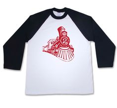 2nd Birthday Shirt- Boys  Vintage Feel Number Train  Baseball T-Shirt  ( Train 2 BTT 1112  Red  Ink) Perfect for train museum birthday party