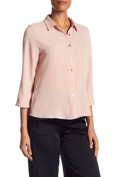 Image of Catherine Catherine Malandrino 3/4 Length Sleeve Button Side Slit Shirt