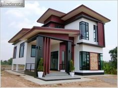 This modern style, half floor home has a unique style. It is distinctive in shape.