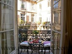 ooh la la - perfect Paris apartment terrace for outdoor dining & drinking, overlooking courtyard, french doors to apartment