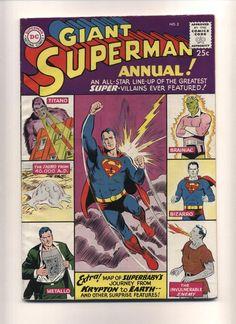 Superman Annual 2 (VG) Silver Age; DC Comics; 1960 (c#05509) #comics #comicbooks #silverage Superman Comic Books, Old Comic Books, Vintage Comic Books, Comic Book Artists, Comic Book Covers, Vintage Comics, Comic Book Heroes, Superman 2, Superman Family