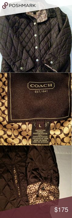 Authentic Coach Quilted Jacket Like New!💥 Only worn Once! Signature C throughout inside Lining of Jacket! Snap Button Closure!💝 Lightweight! Can wear Sleeve down or rolled up Showing C logo- As Seen in Pictures!🌼 100% Nylon Lining. 100% Polyester Fill🌺 Coach Jackets & Coats