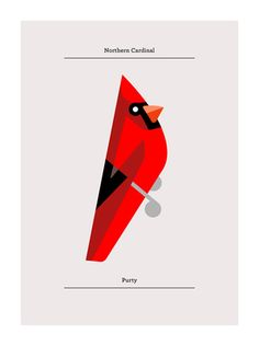 Clip art illustration of a red Cardinal bird sitting on a ...