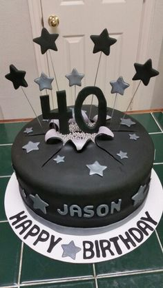 Amy's Crazy Cakes - 40th Birthday Cake with 40 and stars busting out of the cake