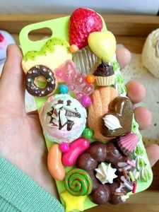 iPhone 5 Sweets Deco-den Case Green with Cocos Pon de ring