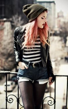 LEHAPPY luanna90 on instagram - Love the black & white stripes, shorts, tights, leather moto jacket, and green beanie combo!