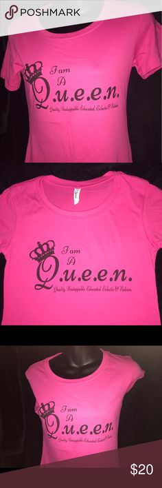 Graphic Tee - I Am A Queen. Raspberry color women's size Sm-XXL. 60% cotton 40% polyester. Tops Tees - Short Sleeve