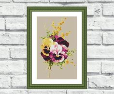 """Modern counted cross stitch pattern """"Pansies"""". This elegant, vibrant and cheerful still life/flower pattern looks especially attractive when viewed from a distance and so easy to stitch! Perfect for any room in your home including living rooms, kids rooms and bedrooms. 6,99$"""