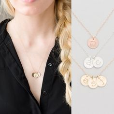 Mom Necklace, Grandma Necklace, Personalized Gold, Rose Gold, Silver Disc Necklace, Name Necklace, Kids Initial Necklace, Lowercase Disk