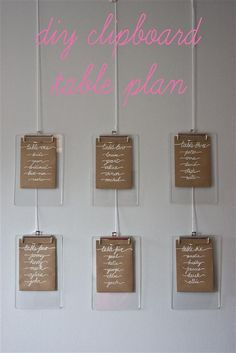 DIY Clipboard Wedding Table Plan Tutorial