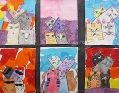 GATOS: Acuarelas, ceras blandas y papel de seda. Actividad realizada por alumnos de 4º de EP.
