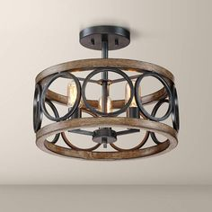 Franklin Iron Works Rustic Farmhouse Ceiling Light Semi Flush Mount Fixture LED Black Circle Wood Grain Wide Bedroom Image 1 of 7 Design Page, Farmhouse Lighting, Rustic Farmhouse, Rustic Wood, Rustic Decor, Farmhouse Style, Vintage Industrial Lighting, Bedroom Lighting, Light Bedroom