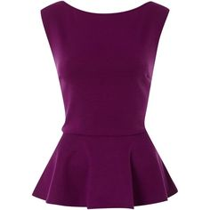 Therapy Peplum top (210 MXN) ❤ liked on Polyvore featuring tops, blouses, shirts, peplum top, purple, women, peplum shirt, purple shirt, sleeveless tops and round collar shirt