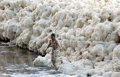 Unusual ocean foam in Sydney, Australia