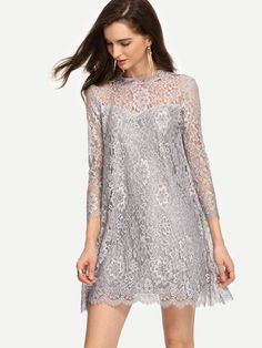 Shop Keyhole Back Grey Lace Shift Dress online. SheIn offers Keyhole Back Grey Lace Shift Dress & more to fit your fashionable needs. Casual Day Dresses, Short Dresses, Summer Dresses, Formal Dresses, Stunning Dresses, Pretty Dresses, Couture Dresses, Fashion Dresses, Dress Brokat