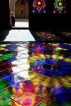 A world of colors beneath your feet. Nasir al-Molk mosque, Shiraz, IRAN by Maryam.z, via Flickr