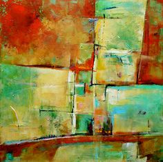 "ABSTRACT PAINTING  ORIGINAL  Art  30"" x 30"" - Green and Red Acrylic Painting on Canvas by Contemporary Artist Elizabeth Chapman"