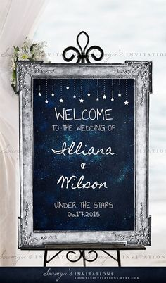 Learn more about >> Wedding Welcome Sign, Starry Night Welcome Sign, Under the Stars Welcome Sign, Wedding Reception Sign, Personalized Printable Wedding Sign Galaxy Wedding, Starry Night Wedding, Moon Wedding, Celestial Wedding, Midnight Wedding, Dream Wedding, Wedding Reception Centerpieces, Wedding Decor, Wedding Ideas