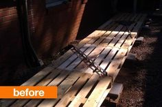 Before & After: A Bunch of Old Pallets Gain Purpose - Dog-Friendly Ideas for Apartment Balconies Diy Pallet Sofa, Diy Pallet Furniture, Diy Pallet Projects, Wood Projects, Pallet Ideas, Furniture Ideas, House Projects, Outdoor Furniture, Old Pallets