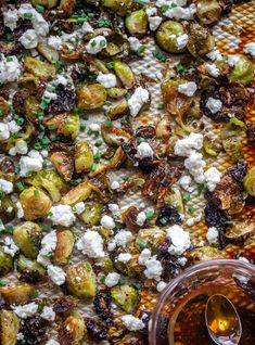 Hot honey brussels sprouts are the perfect side dish! Crispy brussels sprouts that are sweet & spicy, topped with feta and chives. So delicious enough to eat right off the pan. Vegetable Recipes, Vegetarian Recipes, Healthy Recipes, Healthy Meals, Best Thanksgiving Recipes, Fall Recipes, How Sweet Eats, Sweet And Spicy, Most Pinned Recipes