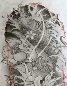 Koi Tattoo Design, Tattoo Designs, Koi Fish Tattoo, Fish Tattoos, C Tattoo, Dragon Fish, Koi Art, Thailand Art, Mythology Tattoos