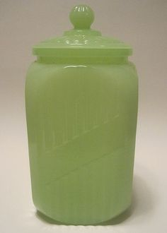 Vintage Jadite Depression Glass Canister With Cover