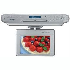 The Coby In. Under-the-Cabinet DVD/CD Player features a Digital TV and Radio. It has a inch widescreen TFT LCD display screen and includes a digital AM/FM radio. Under Counter Tv, Under Cabinet Radio, Personal Cd Player, Portable Tv, Tv Accessories, Digital Tv, Stereo Speakers, Tv On The Radio, Kisses