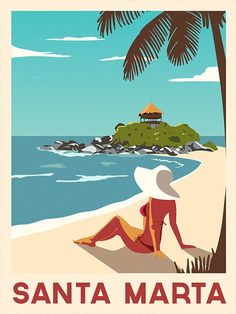 Caribbean Poster Santa Marta travel print Caribbean travel | Etsy Santa Marta, Art Deco Illustration, Colombian Art, Retro Poster, Art Deco Posters, Tropical Art, Vintage Travel Posters, Beach Art, Illustrations And Posters