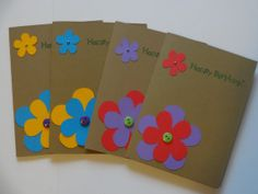 Flower Happy Birthday Card Set 4pk with by MegansPaperCreations, $9.75