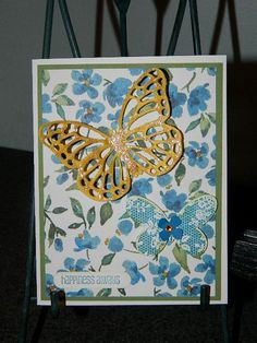 Painted Blooms Designer Paper, Butterfly Basics, Butterfly Die, Stampin' UP! Cheery spring or summer card! Happy Crafting! ~Dee