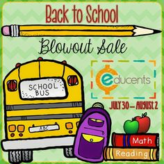 Educents Back-To-School Sale!  Bundled TpT packets are available for Pre-K through Eighth Grade!  Today through Saturday.  http://www.educents.com/#0987