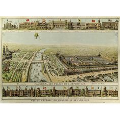 View of the Paris Exhibition of 1878 Pictorial Maps, France, Spain And Portugal, World's Fair, Grand Tour, Birds Eye View, Antique Prints, Facades, Natural History