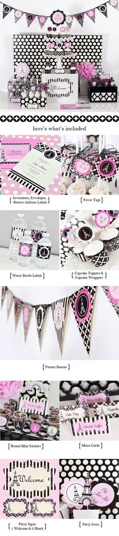Paris Themed Party Kit Bridal Shower Party BBQ by DoYouParty, $62.00