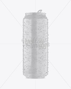 500ml Glossy Aluminium Can W/ Condensation Mockup – Front View