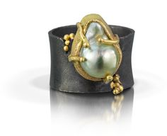 Pearl Overflow Ring | Shauna Blythe Burke   ||  South Sea Pearl set in 18K yellow gold and oxidized sterling silver band