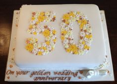 Delicate daisies for a golden wedding anniversary cakes