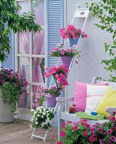Außendekoration Source by Patio Balcony Ideas, Balcony Design, Garden Design, Outdoor Spaces, Outdoor Living, Outdoor Decor, Outdoor Ideas, Small Gardens, Outdoor Gardens