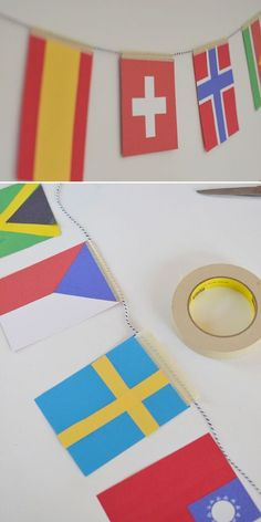 DIY: olympic flag garland – Small for Big DIY Olympic Flag Garland ~ Craft with Kids ~ Learn about the World ~ Sochi 2014 Olympic Flag, Olympic Idea, Olympic Games, Around The World Theme, Flags Of The World, Kids Olympics, Winter Olympics, Art For Kids, Crafts For Kids