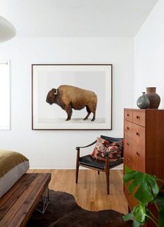 Rustic room with American Buffalo print by Sharon Montrose