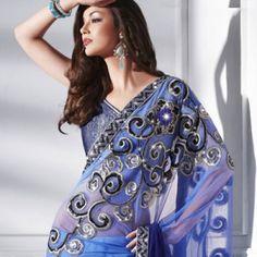 Designer Embroidered Shaded Blue Saree   $115.00   http://goodbells.com/saree/designer-embroidered-shaded-blue-saree.html