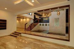 Unni Residence by Alex Jacob, Interior Designer in Bangalore ,Karnataka, India House Hall Design, Hall Interior Design, Home Stairs Design, Kerala House Design, Bungalow House Design, Home Room Design, Home Office Design, Modern House Design, Interior Staircase