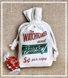 Watchtower and Awake JW favor/candy bag Pioneer School, Jw Pioneer, Pioneer Gifts, Jw Gifts, Craft Gifts, Jw Watchtower, Caleb Et Sophia, Jw Convention, Jw Ministry