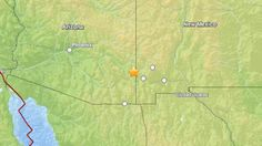 A map shows the epicenter of an earthquake that struck near the Arizona-New Mexico border on Saturday, June 28, 2014, according to the U.S. ...
