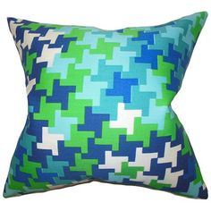 Ciel Blue and Green 18 x 18 Geometric Throw Pillow