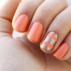 Essie Nail Polish in Under Where? Peach Nails, Coral Nails, Gold Nails, Orange Nails, Pink Nail, Pastel Nails, Gold Glitter, Gold Manicure, Manicure Tips