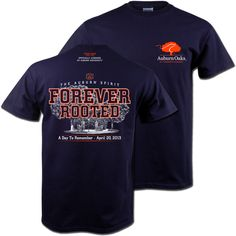 "Auburn Oaks ""Forever Rooted"" Commemorative T-Shirt - Adult Short Sleeve - Navy"